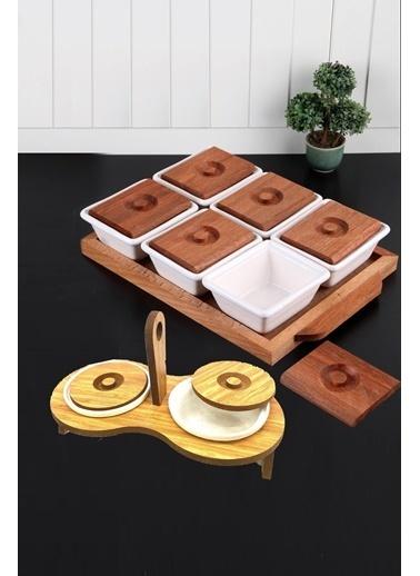 Kitchen Love 2 Set / 6 Prç.Ahşap Kapaklı Lüx Seramik Kahvaltılık Seti+Ahşap Standlı 2Li Reçellik Renkli
